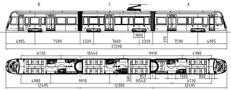 <br><br><br>Kuva 12.1 a) Smart Artic X34 raitiovaunun päämitat