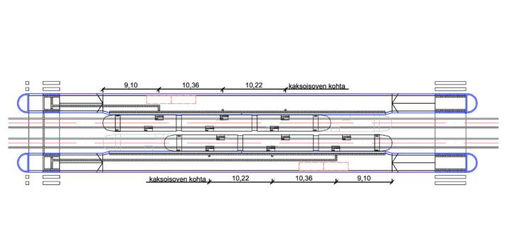 Kuva 6.3 a) Taktiiliopastus sivulaiturilla, liikennevalo-ohjaus toisessa päässä.