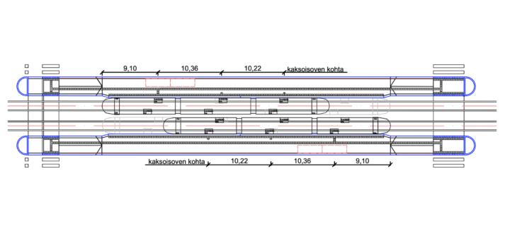 Kuva 6.3 b) Taktiiliopastus sivulaiturilla, liikennevalo-ohjaus molemmissa päissä.