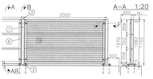 Kuva 9.4.1  b) R15/DK R1...R5 suunnitelmien mukainen rautatiesillan kaide, jota käytetään perustason kaiteena raitiotiesilloissa.