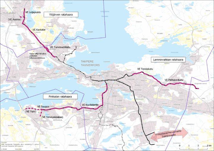 Kuva 1.3.1. Tampereen raitiotien laajentuminen, Tampereen seudullinen yleissuunnitelma